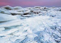 Drift ice, dike of Stavoren, IJsselmeer, the Netherlands, january 2011